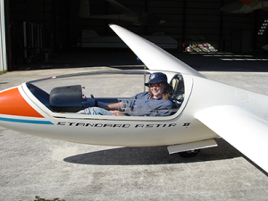Figure 3: Pilot Reclined in Grob G-102 Sailplane
